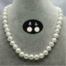 White 8mm Akoya Cultured Shell Pearl Necklace + Earring Set 18'' AAA Jewelry US~