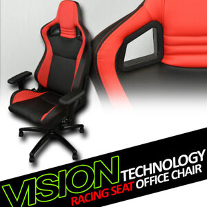 Black/Red Red Stitches Pvc Leather MU Racing Bucket Seat Game Office Chair Vl12
