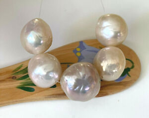 5 Large Creamy & Lavender Beautiful Unique Baroque Pearls, 12-14½ mm x 13-14½ mm