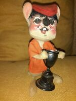 """1971 Annalee Mobilitee 5"""" Mouse with Trophy Cup Vintage Collectible Doll"""