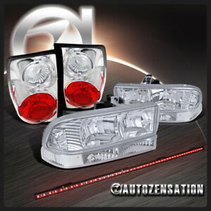 For 1998-2004 Blazer S10 Clear Headlights+Bumper+Tail Lamps+LED Tailgate Bar