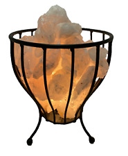 Smoky Smokey Quartz Crystal Cage Calcite Natural Reiki Chakra Minerals Lamp