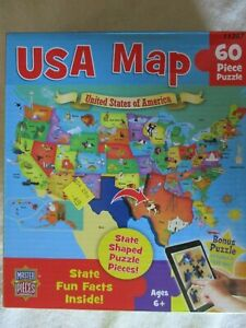 """MasterPieces """"USA Map"""" Jigsaw Puzzle. 60 State Shaped Pieces. Age 6+."""