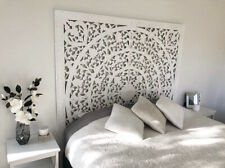 King or Queen whitewash carved bedhead wall feature