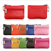 Women's Leather Small Mini Wallet Coin Purse Card Holder Zip Keyring Pouch Bag