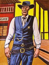 GARY COOPER PAINTING high noon movie western cowboy hat gun belt collector's