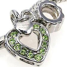 Wholesale 20pcs Peridot Cz Open Heart Silver European Bracelet Charm Beads D241