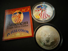 2000 FULL COLORIZED  American Silver Eagle 1 Troy Oz ,1 Dollar Coin BU.999 #342