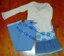NEW FELIX TOTALLY TRIXIE 4pc Blue Rose Peasant Top Skirt Jeans Boutique Set 14
