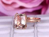 2Ct Cushion Cut Morganite Diamond Solitaire Engagement Ring 14K Rose Gold Finish