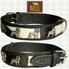 Premium French Bulldog Collar WOZA Full Leather Padded Soft Cow Napa Handm C2787