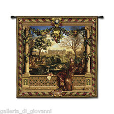 """Old world Le Chateau de Monceau Wall Tapestry Art 53""""x53"""" French France"""