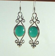 Created Turquoise 925 Sterling Silver Victorian Style Fishhook Earrings