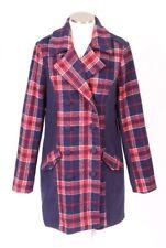 NWT JACK BB Dakota Navy Blue Red Tartan Plaid Wool Pea Coat Jacket Womens L