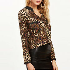 Women Long Sleeve Leopard Print OL Ladies Casual Sexy V Neck T Shirt Blouse Tops