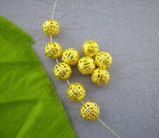 100 Perles intercalaires boule filigrane Doré 8mm Dia.
