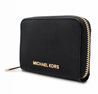 Michael Kors Purse Wallet Jet Set Travel Zip around Saffiano Black New
