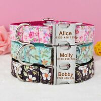 Floral Nylon Personalized Dog Collar Free Engraved Boy Girl Dog Puppy Pet Name