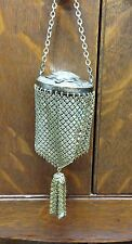 VINTAGE VICTORIAN METAL MESH, CIRCULAR COIN PURSE WITH STRAP - EXCELLENT