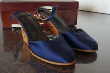 Karvings  Women's Blue Size 6 wood carving Clog Sandal Hand Carved Women Shoes