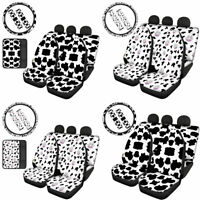 Car Front&Rear Seat Covers Cow Pattern 7/8pcs Armrest Cover Auto Accessories