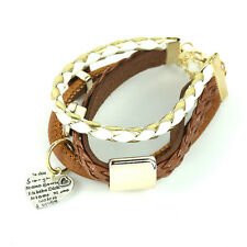 Women Men Leather Charms Bracelet Brown Color Hear Charms Cuff Sude Gift Jewelry