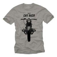 Rockabilly Motorrad Herren T-Shirt mit Cafe Racer - Männer Twin Bobber Shirt