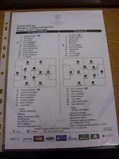 02/10/2012 Colour Teamsheet: Nordsjaelland v Chelsea [Champions league] (Tactica