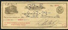1929 $1.90 B. MAX HEHL NUMISMATIST FORT WORTH NATIONAL BANK CHECK