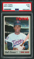 1970 TOPPS #290 ROD CAREW (HOFer) MINNESOTA TWINS PSA 7 NM Sharp, Clean Example