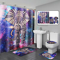 4Pcs Elephant Decor Non-Slip Rug Toilet Lid Seat Cover Bath Mat + Shower Curtain