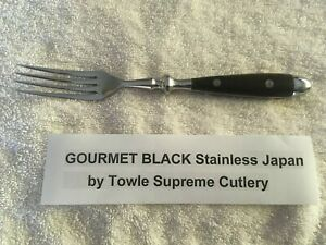 Towle Supreme Cutlery Gourmet Black Stainless / Wood Handle Dinner Fork Free S&H