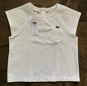 NEW Lacoste Girls Size 8/6 Cotton Pocket Polo White Shirt Top Short Cap Sleeve