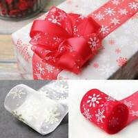 25Yards Christmas Snowflakes Winter Red Wired Ribbon Decoration 2.5cm
