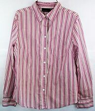 Attention Womens XL Long Sleeves Button Down Top Vertical Stripes Pink