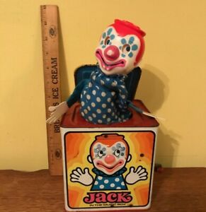 Vintage 1976 Mattel Jack In The Box Wind Up Musical Clown Toy Working but flawed