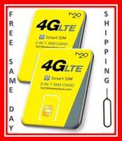 2 H2O WIRELESS 3-in-1 SIM card Regular, Micro, Nano. AT&T & UNLOCKED PHONES. H20