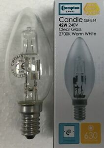 6 x Candle Halogen Compton SES E14 42W = 55W halogen clear bulb lamp
