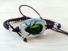 Real Green Beetle Bug Insect Goth Luminous Bracelet Strange Gift