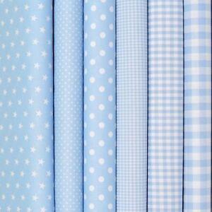 Baumwollstoffe Baby Blau 10,96€/m Stoffe Uni Punkte Sterne Karo Patchwork Kinder