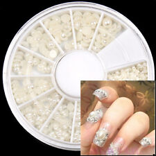 Elegant Round Nail Art Wheel Decoration HALF FACE Handmade Pearl White Tips
