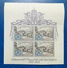 1952 Centenary of the Vatican Stamps MNH Miniature Sheet from Vatican