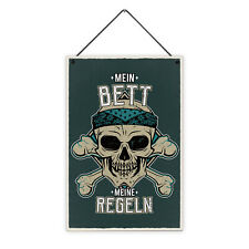 Bett Regeln 20 x 30 cm Holz-Schild 8 mm Spruch Motiv Geschenk Mann Paare Lustig