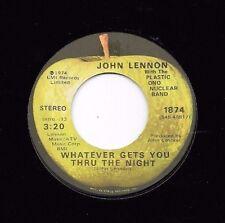 JOHN LENNON * 45 * Whatever Gets You Thru Through The Night * 1974 * VG+ Beatles