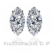 Diamond Solitaire Studs: 0.50ct Certified D IF Marquise Shape Diamonds, Platinum