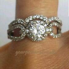 1.35 carat 14K white Gold 2 piece round Halo Engagement Wedding Ring Set s 6.5