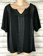 New Listingrock 47 By Wrangler Size M Black Embellished Sheer Blouse Cami Top Layered U42