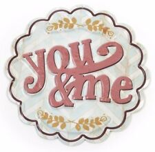 """RUSTIC STYLE ROUND METAL WALL HANGING SIGN """"YOU & ME"""""""