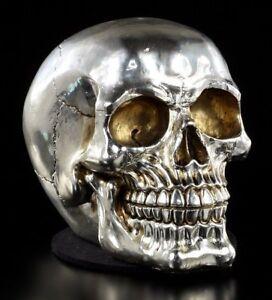 Totenkopf silberfarben - Gothic Totenschädel Deko Figur Skull glänzend poliert