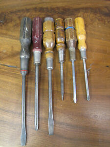 ANTIQUE/VTG LOT OF VERY NICE OLD WOOD HANDLE SCREWDRIVERS. TUCK, STANLEY, PROTO